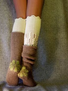 by BeautyByBeatris Lace Knitting, Knitting Socks, Knit Crochet, Knit Lace, Lace Socks, Wool Socks, Slouch Socks, Bed Socks, Leg Warmers