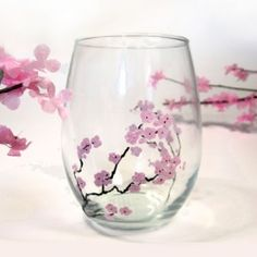 Gift Idea: How to paint Cherry Blossom Flowers using only a Pencil Eraser and MS Glass paint. Diy Wine Glasses, Hand Painted Wine Glasses, Glass Painting Designs, Paint Designs, Cherry Blossom Flowers, Pink Flowers, Silver Flowers, Wine Glass Crafts, Bottle Crafts