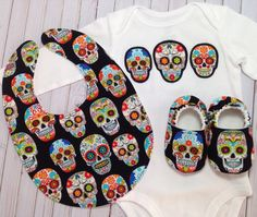 Sugar Skull Baby Shoes, Bodysuit