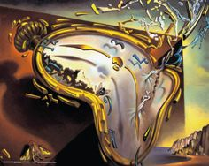 "Surrealist artist Salvador Dali ""Montre Molle"" the melting clock is one of my favorite paintings of all. by Salvador dali Salvador Dali Gemälde, Salvador Dali Paintings, Posters Wall, Dali Clock, Melting Clock, Jean Arp, Art Classroom, Art Education, Les Oeuvres"