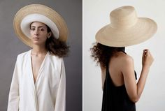 Dani Griffiths collection of straw hats, in super chic shapes, for Clyde