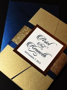 Navy and Gold Glitter Wedding Invitation, Pocketfold Wedding Invitation - ARIEL VERSION DOUBLE BAND