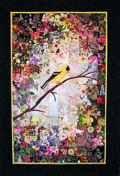Stitchin' Therapy: Watercolor Quilts Persistence Thread painted goldfinch and branch. Patchwork Quilting, Applique Quilts, Crazy Quilting, Scraps Quilt, Quilting Projects, Quilting Designs, Embroidery Designs, Quilting Templates, Quilting Ideas
