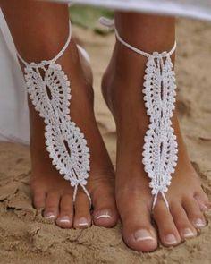 BAREFOOT SANDALS White crochet sandals