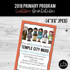 I am a Child of God, Primary Program. Custom Color Invitation from HeyFriendDesignShop on Etsy. Primary Program, Temple City, Shopping Street, Little Designs, Programming, Invitations, God, Children, Color