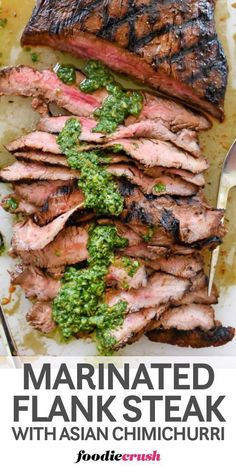 This simple soy sauce, orange, and garlic-spiked marinade makes flank steak ready to grill in 30 minutes topped with a chimichurri sauce with an Asian spin. Asian Flank Steak, Marinated Flank Steak, Flank Steak Recipes, Grilled Steak Recipes, Beef Recipes, Cooking Recipes, Water Recipes, Flank Steak With Chimichurri, Shawarma