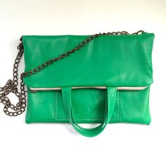 Emerald green foldover leather cross body by AngelaValentineBags, $85.00