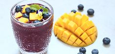 Get a healthy dose of omega-3 fatty acids, fiber, protein, and diverse antioxidants when you fuel up with this mango blueberry chia smoothie. Homemade Smoothies, Yummy Smoothie Recipes, Yummy Smoothies, Chia Seed Smoothie, Strawberry Banana Smoothie, Healthy Drinks, Healthy Food, Healthy Eating, Recipes
