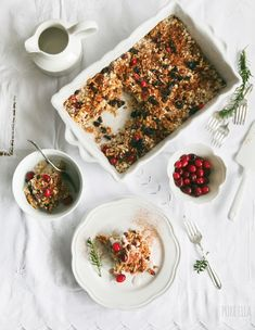 Festive Baked Oatmeal : orange-infused, with dried fruit, nuts and cranberries (Gluten Free + Vegan)