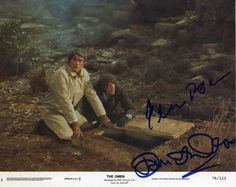 """GREGORY PECK & DAVID WARNER Hand Signed Lobby Card for """"The Omen"""" - JSA COA in Collectibles, Autographs, Movies 