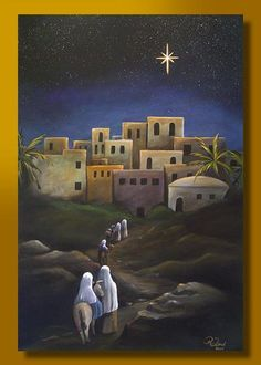 Art 'Journey to Bethlehem' - by Rita C. Ford from Available Christmas Stage, Christmas Program, Christmas Scenes, Christmas Nativity, A Christmas Story, Christmas Art, Nativity Church, Nativity Painting, Journey To Bethlehem