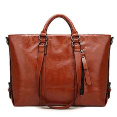 Women Genuine Leather Fashion Minimalist Handbag Leisure Business Shoulder Bag Tote Bag