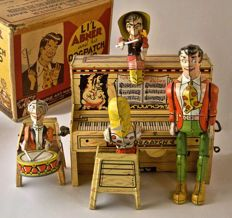 Unique Art Manifacturing - Li'l Abner and his Dogpatch Band Tin Toy Windup with Box - 1945