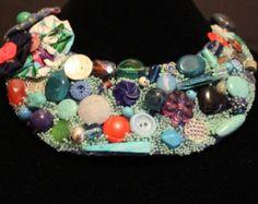 Beaded flower necklace light blue violet leaves by Elinawonderland