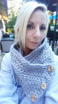 Heather gray button cowl by L2Lcrochet on Etsy