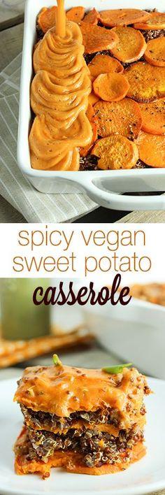 Spicy Vegan Sweet Potato Casserole // quinoa, vegetable broth, sweet potatoes, olive oil, cauliflower, chipotle peppers, white wine vinegar, sea salt, black pepper