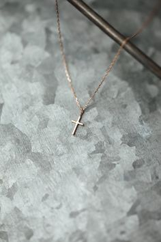 ANNA Necklace Blessed in 18 KT Rose Gold. Wear the cross around your neck and remind yourself to be faithful.