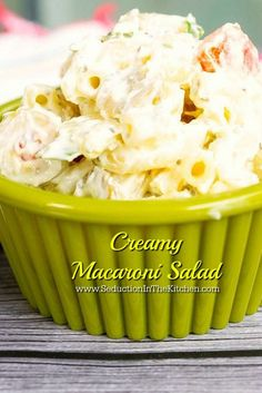 Creamy Macaroni Salad is a just what the name suggests. It is an easy salad to make and will be the hit of your next picnic. A recipe from Seduction in the Kitchen.