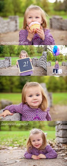 Two-year-old girl's birthday milestone portraits on an antique stone bridge. Props include a cupcake, chalkboard, and balloons.