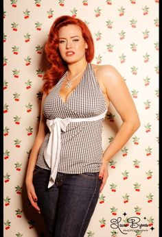 Holly Tie Halter Top in Black and White Gingham by Pinup Couture, comes in 2x