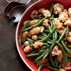 Garlicky Potatoes, Green Beans and Cauliflower Recipe // More Tasty Potato Recipes: http://www.foodandwine.com/slideshows/potatoes #foodandwine