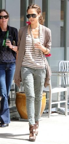 Jessica Alba and J Brand Jeans Photograph LOVE Jessica's casual look with a striped tee, and draped cardigan!  Check out Jockey's Striped Scoop Neck Tee, jersey cardigans, and ankle jeans!  Rock the celebrity casual look!