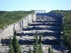 A giant staircase dug in solid rock in the wilderness. (James Bay Project - Hydro Quebec)