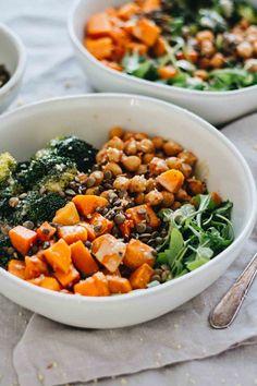 vegan chickpea and sweet potato bowls