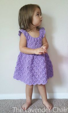 Crochet Baby Girl Vintage Rounded Yoke Dress Crochet Pattern - The Lavender Chair - This Vintage Toddler Rounded Yoke Dress is so adorable! Perfect for any occasion! Get the FREE crochet pattern here! PDF version available for purchase too. Crochet Toddler Dress, Toddler Dress Patterns, Crochet Dress Girl, Crochet Baby Dress Pattern, Crochet Yoke, Baby Girl Crochet, Crochet Baby Clothes, Crochet For Kids, Free Crochet