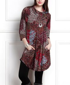 This Burgundy Peacock Shawl-Collar Button-Accent Tunic Dress - Plus Too is perfect! #zulilyfinds