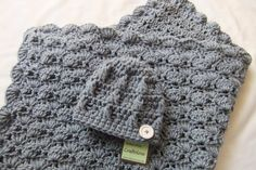 Baby Boy Shower Gift Set - Crochet baby blanket - Baby Boy Blanket Silver Grey Stroller/Travel size and Button Beanie. $56.99, via Etsy.