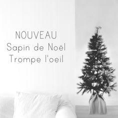 """NOUVEAU: Sapin de Noël Trompe l'oeil Découvrez dès aujourd'hui notre Sapin de Noël trompe l'oeil, imprimé noir et blanc, à accrocher au mur ou suspendre. taille: 60x180cm, prix: 46€  Discover the Christmas tree """"Trompe l'oeil"""", black and white printed, to hang on the wall. size: 60x180cm, price: 46€"""