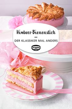 Himbeer-Bienenstich Bee sting filled with a summery raspberry-yoghurt mousse Torte Cake, Pie Cake, No Bake Cake, Raspberry Yoghurt, Baking Recipes, Cake Recipes, German Baking, Food Cakes, Cake Cookies