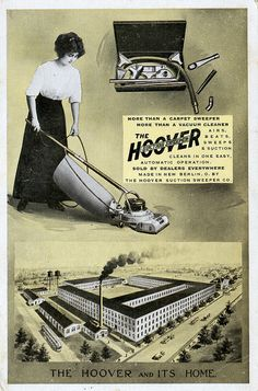 ...A VERY early Hoover ad...! Retro Ads, Vintage Advertisements, Vintage Ads, Sewing Room Decor, Hoover Vacuum, Old Logo, Old Ads, Us History, History