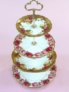 4 Tier Cake Stand Roses Flowers for Wedding by HelensRoyalTeaHouse,   https://www.facebook.com/HelensRoyalTeaHouse?ref=tn_tnmn  http://www.etsy.com/shop/HelensRoyalTeaHouse