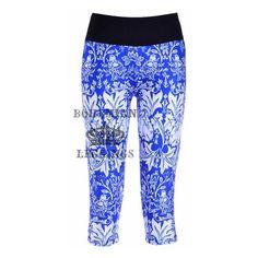 Classic blue&white porcelain Side pocket phone Yoga Leggings pants ($20) via Polyvore featuring pants