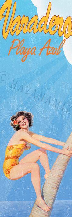 Varadero Cuba BLUE BEACH Vintage Style Pinup Poster Print