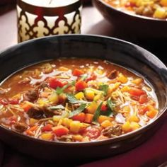 Moroccan Veggie Soup (Chorba). Has lots of healthy spices in it like turmeric, saffron, & you can add in cumin