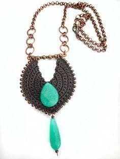 Crochet tribal necklace fiber Native and African inspired Tribal Necklace, Pendant Necklace, Crochet Earrings, Crochet Jewellery, Tribal Fashion, Metallica, African, Chain, Tribal Style