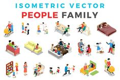 Vector Family People Isometric Flat by Sentavio on @creativemarket