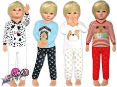 Outfit for toddler boys with dog's design and patterns. You can recolor pattern but applique aren't recolorable. 4 versions. Only for boys. Found in TSR Category 'Sims 3 Male Clothing'