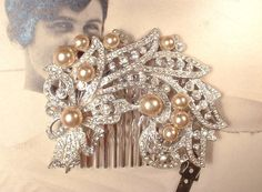 Vintage Art Deco Ivory Champagne Pearl & Clear Rhinestone Bridal Hair Comb,1920s Brooch to OOAK Head Piece, Antique Floral Spray Accessory