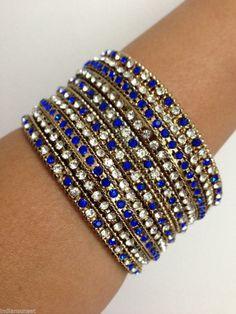 New Indian Bollywood Dance Glitter 6 Bangles Bracelets Dark Gold Set
