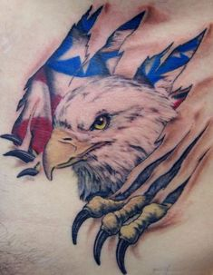 Check out our gallery of eagle tattoo designs for men and women. We delve into the meaning of eagle tattoos as well as their history. We also have a lot of photos of eagle tattoos for the arms, chest, sleeves, back and other body parts. Patriotische Tattoos, Body Art Tattoos, Tattoo Drawings, Sleeve Tattoos, Tatoos, Wing Tattoos, Celtic Tattoos, Harley Tattoos, Belly Tattoos
