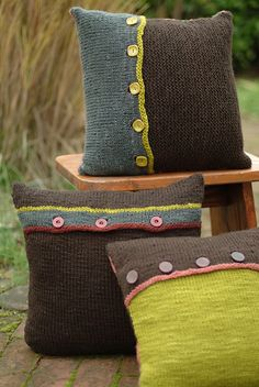 Ravelry: Circle & Stripes Pillow Trilogy pattern by Leigh Radford