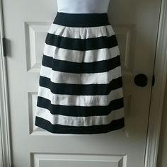 """Final price-Black and white stripe skirt Black white stripe skirt stretchable  waist 11"""" stretch 13.5"""" length 22"""" nwot Skirts"""