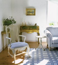 gorgeous swedish gustavian setting. striped sofa & chair.