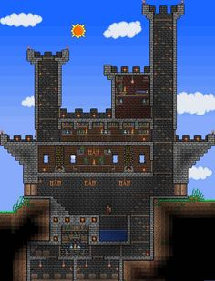 Terraria castle. Wish I could make stuff like this!