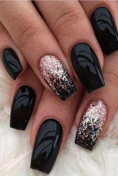 46 Adorable Fall Nail Art Designs that Will Completely Beautify Your Look - Make up and nails - Acrylic nails Black Acrylic Nails, Black Nail Art, Matte Nails, Black Polish, Matte Black, Black Manicure, Dark Nails With Glitter, Gold Glitter, Dark Color Nails