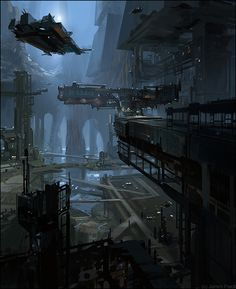 Skyport 2 - concept art demo by - james paick - cghub via pincg. Cyberpunk City, Arte Cyberpunk, Futuristic City, Futuristic Architecture, Environment Concept Art, Environment Design, Carte Star Wars, Bd Design, Sci Fi City